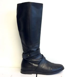 COLE HAAN Leather Riding Boots With Ankle Strap 7
